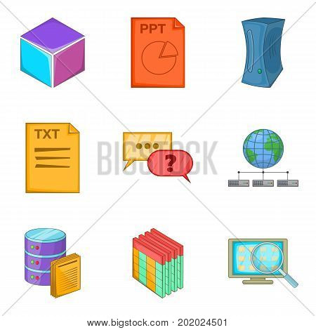 Text file icons set. Cartoon set of 9 text file vector icons for web isolated on white background