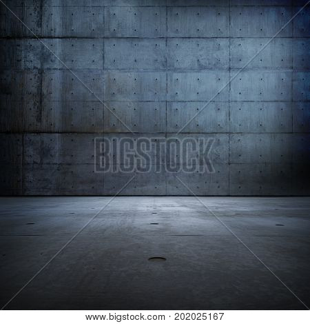 Huge darkish blue concrete space. Large raw concrete compound or room.