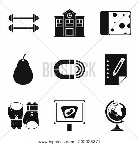 Utility icons set. Simple set of 9 utility vector icons for web isolated on white background