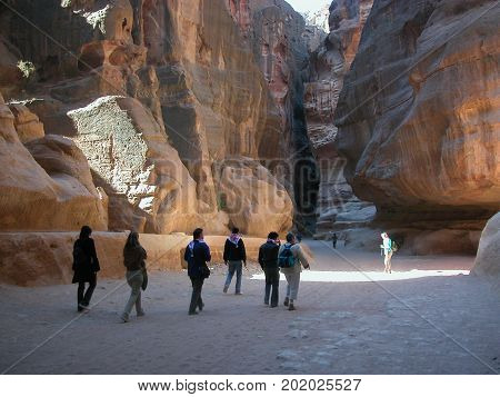 Jordan, the old city of Petra. The entrance al Siq.