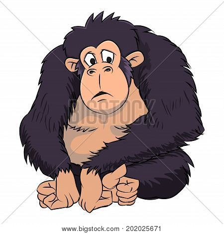 Cute Ape Cartoon on white background - Vector Illustration