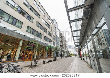 Shopping Street In The Middle Of Jönköping
