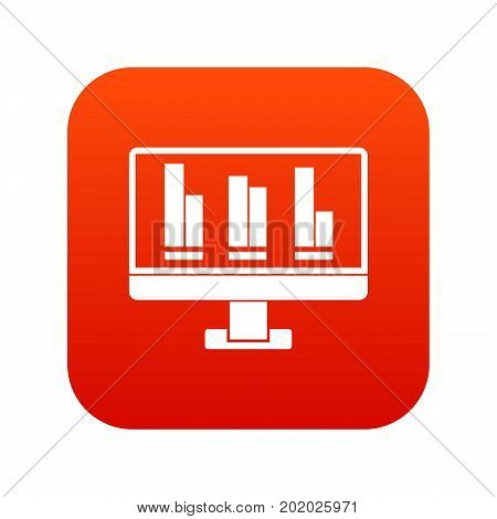 Business graph at computer screen icon digital red for any design isolated on white vector illustration