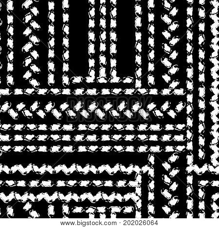 Black and white hand painted chevron and stitch ornament borders grunge seamless pattern, vector background