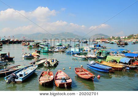 Hong Kong Cheung Chau island, colorfull fishing boats in harbor