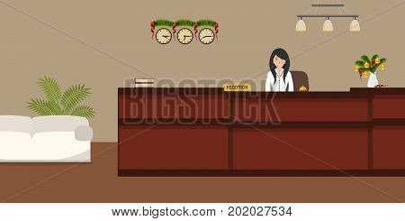 Hotel reception with Christmas decoration. Young woman receptionist stands at reception desk. Travel, hospitality, hotel booking concept. Vector illustration