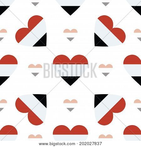 Yemen Flag Heart Seamless Pattern. Patriotic Yemen Flag Background. Country Flag In The Shape Of Hea