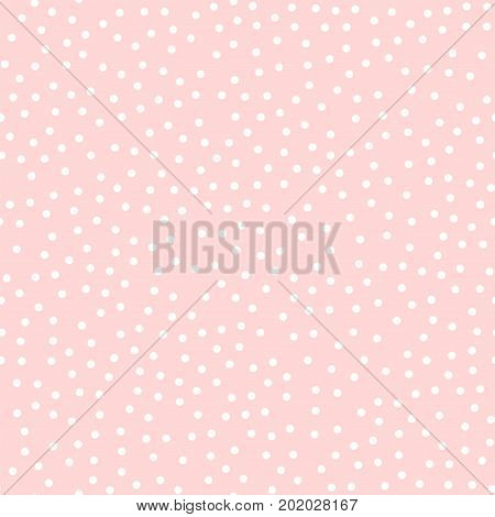 White Polka Dots Seamless Pattern On Pink Background. Extraordinary Classic White Polka Dots Textile