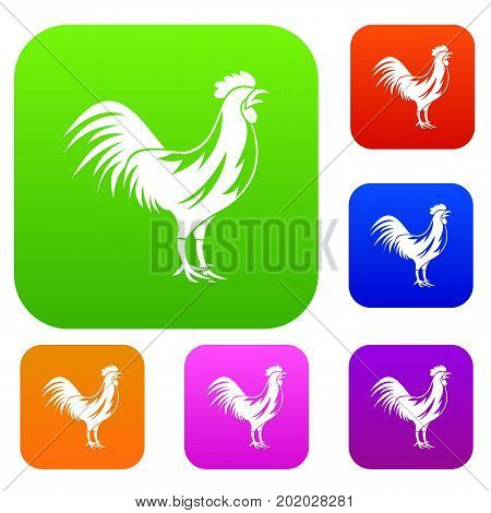 Gallic rooster set icon in different colors isolated vector illustration. Premium collection