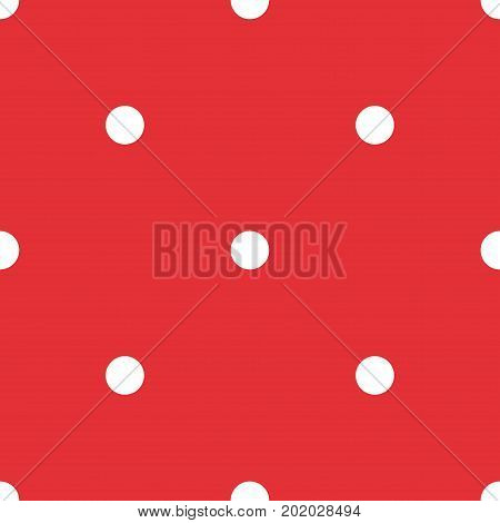White polka dots seamless pattern on red background. Awesome classic white polka dots textile pattern in restrained colours. Seamless scattered confetti fall chaotic decor. Vector illustration. poster