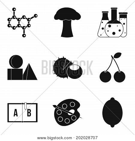 Chemical composition icons set. Simple set of 9 chemical composition vector icons for web isolated on white background