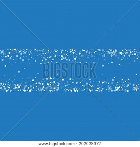 Random Falling White Dots. Chaotic Shape With Random Falling White Dots On Blue Background. Vector I