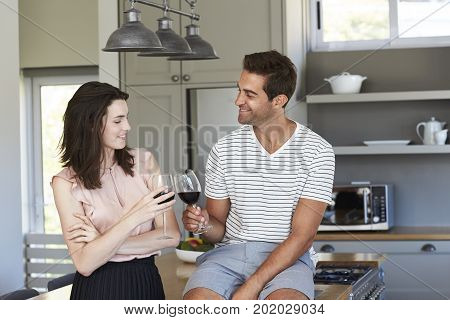 Couple toasting with wine in kitchen smiling