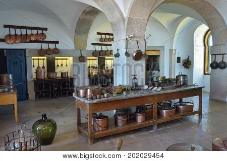 Sintra Portugal - June 6 2017: Interior of kitchen in the Pena Palace. The palace is a UNESCO World Heritage Site and one of the Seven Wonders of Portugal.