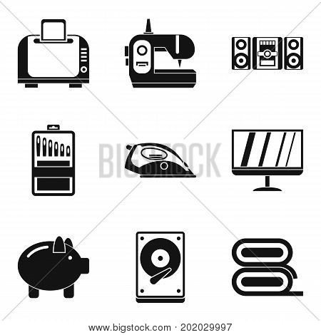 Household appliances icons set. Simple set of 9 household appliances vector icons for web isolated on white background