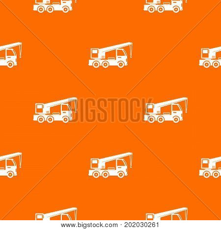 Truck mounted crane pattern repeat seamless in orange color for any design. Vector geometric illustration