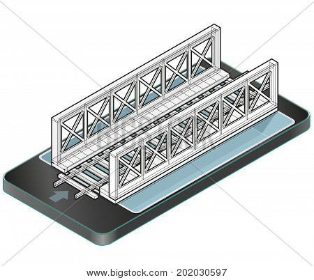 Isometric vector train bridge in mobile phone. Construction industrial transportation building. Wire architecture plan. 3d building planning of railway bridge in communication technologies, isolated.