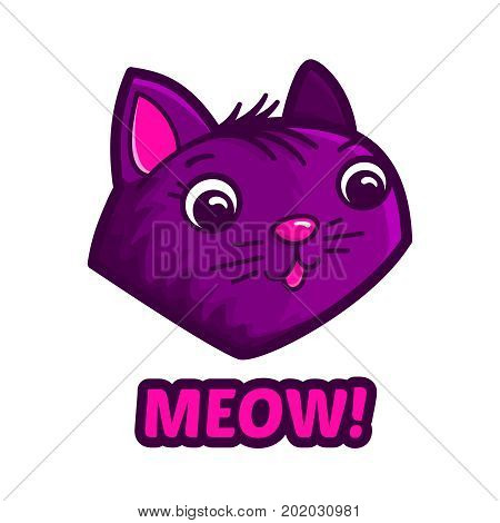 Cute cat face and text Meow isolated on white background. Vector comic cartoon style illustration for kids t shirt design