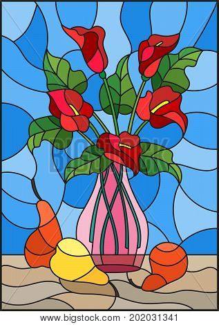 Illustration in stained glass style with bouquets of red Calla lilies flowers in a pink vase and pears on table on blue background