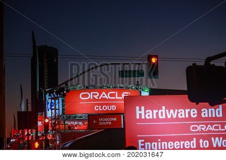 SAN FRANCISCO CA USA - SEPT 22 2013: Outdoor pavilion of Oracle Open World conference opened at Howard street near Moscone Center in the evening on Sept 22 2013 in San Francisco CA USA.