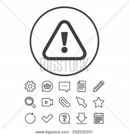Attention sign icon. Exclamation mark. Hazard warning symbol. Document, Chat and Paper clip line signs. Question, Pencil and Calendar line icons. Star, Download and Shopping cart. Vector