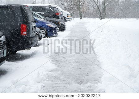 cars parking in a row in the blizzard