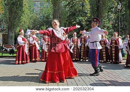 Volgograd Russia - September 08 2012: Performance of the Cossack choir at the City Day in Volgograd