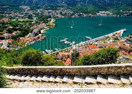 Kotor Bay Old Castle steps in Kotor, Montenegro