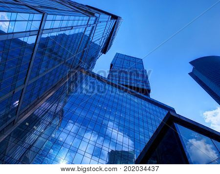 MOSCOW, APR, 28, 2015: Business buildings offices of Moscow-City business center. Moscow financial business architecture. Famous Moscow architecture sightseeing points tours. NYC New York architecture