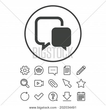 Chat sign icon. Speech bubble symbol. Communication chat bubble. Document, Chat and Paper clip line signs. Question, Pencil and Calendar line icons. Star, Download and Shopping cart. Vector