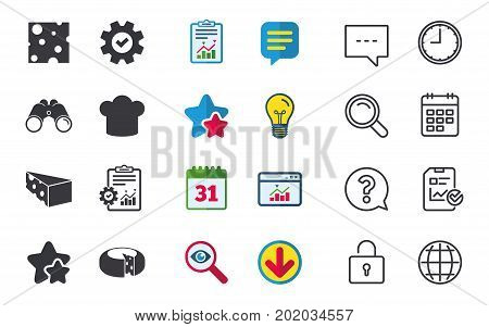 Cheese icons. Round cheese wheel sign. Sliced food with chief hat symbols. Chat, Report and Calendar signs. Stars, Statistics and Download icons. Question, Clock and Globe. Vector
