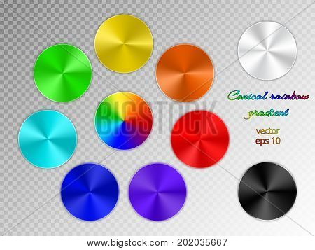 Set of round buttons with a conical gradient on a transparent background. Icons with a rainbow spectrum.