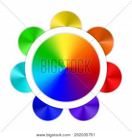Multicolored conical gradients in the form of a rainbow button on a white background. Vector illustration.