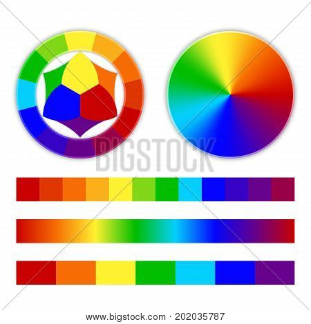 Color wheel, multi-colored conical gradient on a white background. Rainbow vector illustration.