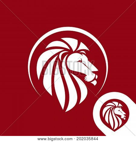 Lion head logo emblem or icon in one color. Inversion version included. Stock vector illustration.