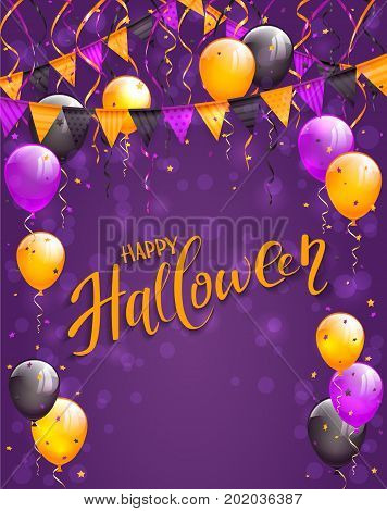 Text Happy Halloween on violet background with multicolored balloons, pennants, streamers and confetti, illustration.