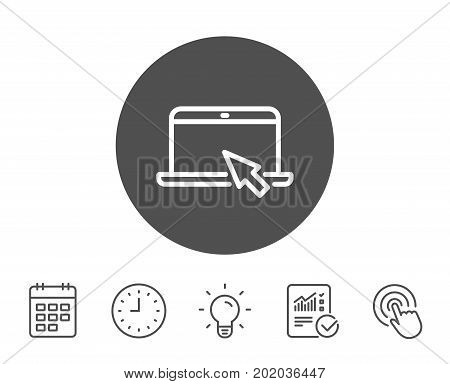 Laptop computer icon. Notebook with mouse cursor sign. Portable personal computer symbol. Report, Clock and Calendar line signs. Light bulb and Click icons. Editable stroke. Vector