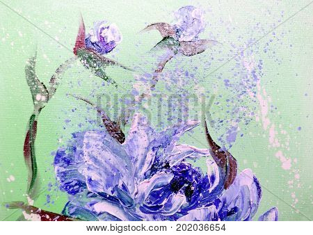 Hand painted modern style Purple peonies flowers. Spring flower seasonal nature background. Oil painting floral texture