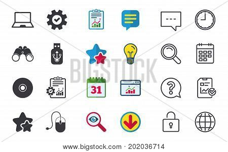 Notebook pc and Usb flash drive stick icons. Computer mouse and CD or DVD sign symbols. Chat, Report and Calendar signs. Stars, Statistics and Download icons. Question, Clock and Globe. Vector