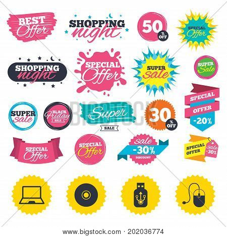 Sale shopping banners. Notebook pc and Usb flash drive stick icons. Computer mouse and CD or DVD sign symbols. Web badges, splash and stickers. Best offer. Vector