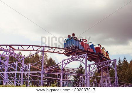 Roller Coaster Track Blue Sky At Amusement Park