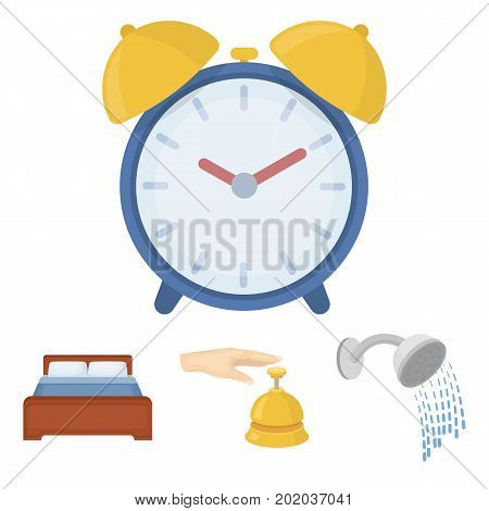 Call at the reception, alarm clock, bed, shower.Hotel set collection icons in cartoon style vector symbol stock illustration web.