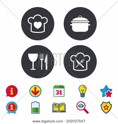 Chief hat with heart and cooking pan icons. Crosswise fork and knife signs. Boil or stew food symbol. Calendar, Information and Download signs. Stars, Award and Book icons. Vector