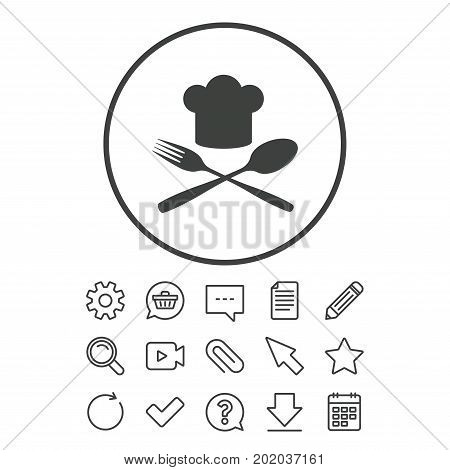 Chef hat sign icon. Cooking symbol. Cooks hat with fork and spoon. Document, Chat and Paper clip line signs. Question, Pencil and Calendar line icons. Star, Download and Shopping cart. Vector