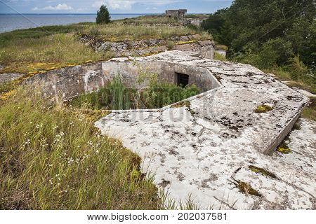 Old Ruined Concrete Bunker From Wwii Period