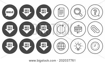 Sale discounts icons. Special offer signs. Shopping price tag symbols. Document, Globe and Clock line signs. Lamp, Magnifier and Paper clip icons. Question, Credit card and Refresh. Vector