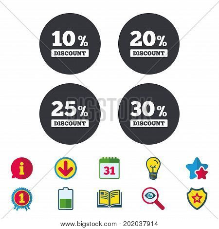 Sale discount icons. Special offer price signs. 10, 20, 25 and 30 percent off reduction symbols. Calendar, Information and Download signs. Stars, Award and Book icons. Light bulb, Shield and Search