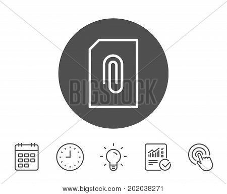 Attach Document line icon. Information File sign. Paper page concept symbol. Upload data. Report, Clock and Calendar line signs. Light bulb and Click icons. Editable stroke. Vector