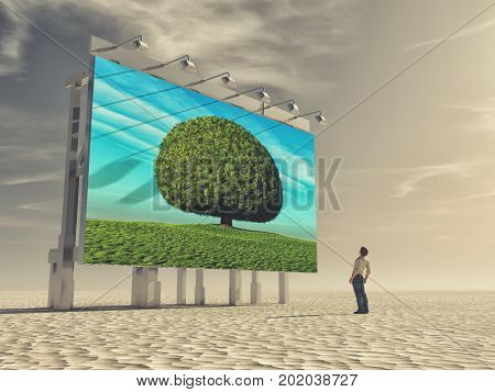 A young man looks at a billboard with a green tree. The concept of ecology. This is a 3d render illustration.