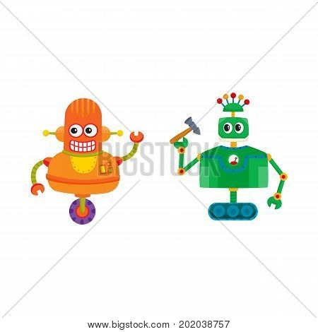 vector flat cartoon funny repairing robots set. Cute humanoid male characters with wrench, hummer - arms and wheel, crawler track - legs smiling. Isolated illustration on a white background.